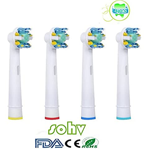 Sohv® cabezales de repuesto para cepillo eléctrico, compatibles con Braun Oral-B FlossAction (EB25-4/EB-25A), compatible con Vitality Precision Clean, Vitality Floss Action, Vitality Sensitive, Vitality Pro White, Vitality Dual Clean, Vitality White and Clean, Professional Care, Triumph, Advance Power, TriZone y Smart Series,4 unidades(1 paquetes), de color blanco