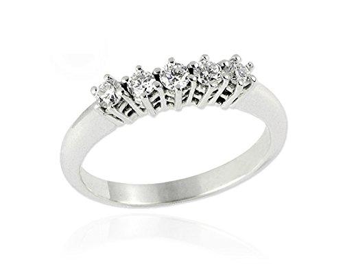 Anello riviera in oro bianco 18 k e diamanti 0,40 ct