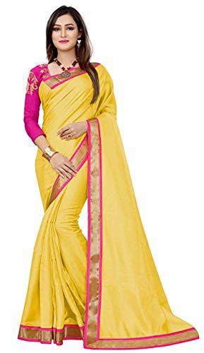 Mishty Fashion Cotton Saree With Blouse Piece (Yellow Saree 1_Yellow_Free Size)