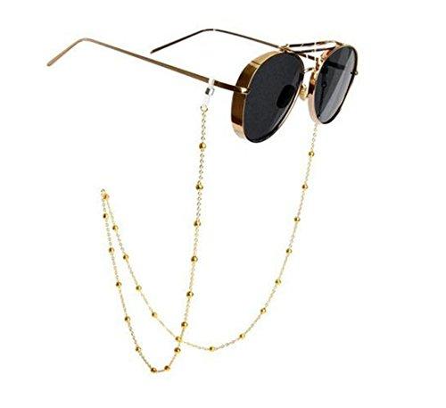 echo-ove Brillentypen Hals Kette, Perlen, Edelstahl mit Band Armband für Frauen mit Seil Saugnapfhalterung für Brillen Retainer, 78cm, gold