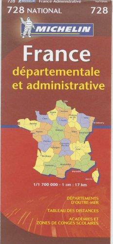 France départementale et administrative : 1/1 700 000