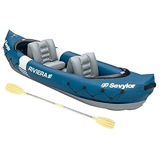 Sevylor Inflatable Kayak Riviera, 2 Man Canadian Canoe with Paddle, Sea Kayak, 315 x 84 cm
