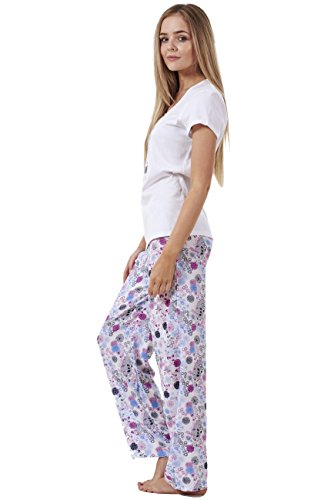 Damen Pyjama - kurzärmlig - 100 % Baumwolle Weiß
