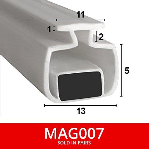 magnetisch Dusche Dichtungen für Kanäle | aus zwei | weicher flexibler faltbar, weiß Gummi T mit Magnet | passt in 11mm Kanal | 2Meter lang | mag007 -