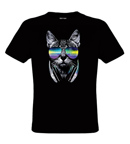 DarkArt-Designs DJ Cat - Cat T-Shirt for Children and Adults - Animal Motiv Shirt Wildlife Music Party&Going Out Lifestyle Regular fit
