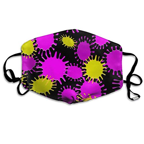 Magenta Peel (Vidmkeo Fun Magenta & Yellow lotch Pattern Anti Dust Face Mouth Cover Mask Protective Breath Healthy Safety Warm Windproof Mask)