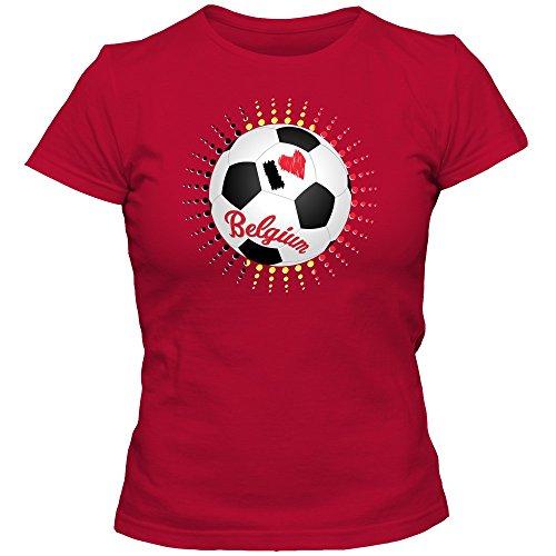 Belgien EM 2016 #6 T-Shirt   De Rode Duivels   Fußball   Damen   Belgique   Trikot   Nationalmannschaft, Farbe:Rot (Red L191);Größe:XL