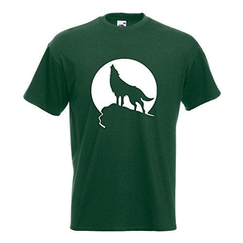 KIWISTAR - Heulender Wolf vor Mond T-Shirt in 15 verschiedenen Farben - Herren Funshirt bedruckt Design Sprüche Spruch Motive Oberteil Baumwolle Print Größe S M L XL XXL Flaschengruen