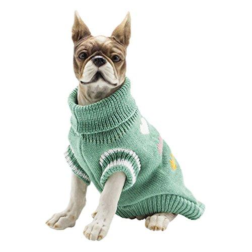YiJee Kleine Hundchen Weihnachten Gestrickte Pullover Haustier Hund Warme Kleidung Strickwaren Grün XS