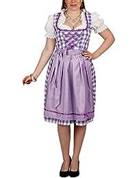 Dirndl Costume Women White Purple 3 Piece Dress Blouse Apron for Traditional Festivals