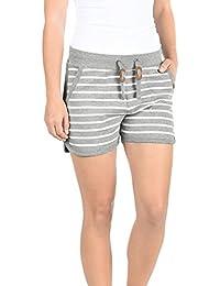 ca5a5aec7aa1ce BlendShe Kira Damen Sweatshorts Bermuda Shorts Kurze Hose Mit  Fleece-Innenseite Und Streifen…