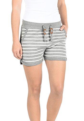 Blend She Kira Damen Sweatshorts Bermuda Shorts Kurze Hose Mit Fleece-Innenseite Und Streifen-Muster Regular Fit, Größe:XXL, Farbe:Zink Mix (70815)