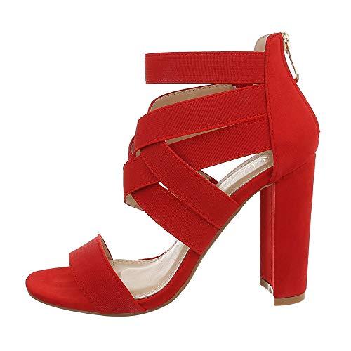 Ital-Design Damenschuhe Sandalen & Sandaletten High Heel Sandaletten Synthetik Rot Gr. 39 (Rote Glitzer High Heels)