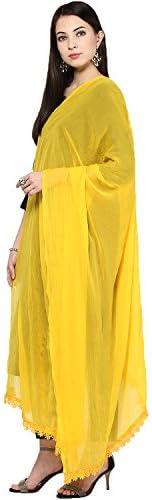 Dupatta Bazaar Women's Solid Yellow Chiffon Dupatta with