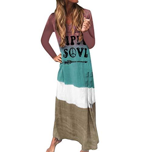 Subfamily HIPPIL SOVL Drucken Maxikleid Langarm Damen Farbverlaufs V-Ausschnitt Column Kleider Freizeitkleider (M, Türkis)
