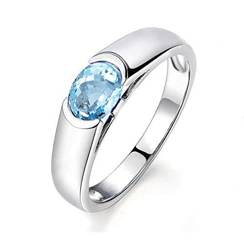 Anyeda Damen Ringe Silber 925 Ovale Form Blauer Topas Weißgold Oval Ringgröße 63 (20.1)