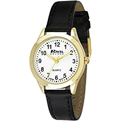 Ravel Deluxe Classic Women's Quartz Watch with White Dial Analogue Display and Black Leather Strap RD003.2GL