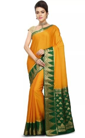 Madisar Mami Tussar Silk Sarees (Yellow with Green Border)