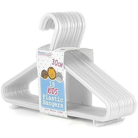 Hangerworld - Perchas De Plástico Para Niños Con Barra, Color Blanco, 30 cm, 72 Unidades