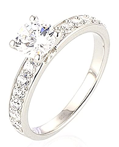 SaySure - Silver Ring Engagement Wedding Ring CZ Diamond (SIZE : 6.5)