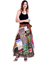 Silk Printed Patchwork Women's Wrap Around Long Wrap Around Skirt Western Wear Skirt For Woman And Girls - Free...