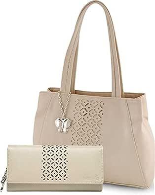 Butterflies Women Handbag With Wallet Combo Set of 2 (Cream) (BNS WB0768)