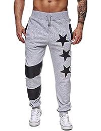 ZODOF Pantalones Casuales con Estampado de Estrellas Hombres Casual Jogger  Dance Sportwear Baggy Slim Diseñado Pantalones 243df33c7281