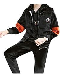 cf1c7c8057d94 chenshijiu Men Velour 3-Piece Winter Sportwear Hooded Sweatshirt Pants  Sweatsuit Set