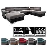 Cavadore Wohnlandschaft Xenit mit Longchair links und Ottomane rechts, U-Form Couch mit...