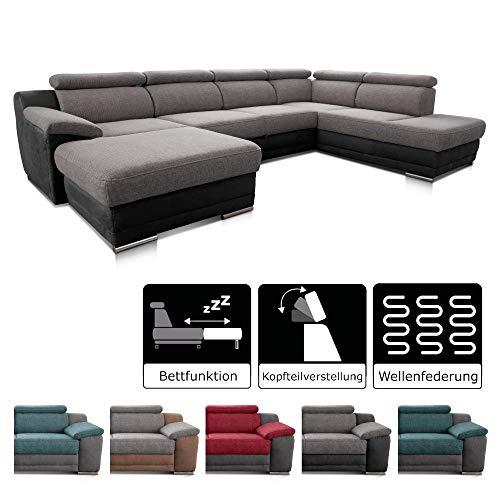 Cavadore Wohnlandschaft Xenit mit Longchair links und Ottomane rechts, U-Form Couch mit Kopfteilverstellung und Bettfunktion, 338 x 81-94 x 215, Materialmix grau - schwarz - Couchgarnitur Ottomane