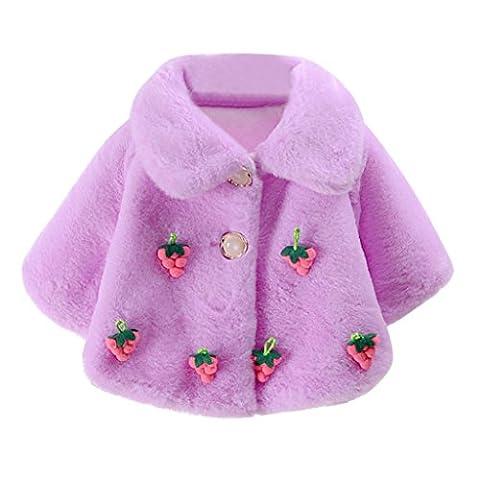 Bébé Manteau, Elecenty bébé fille Hiver chaud Pull Veste Cape TOPS, Coton, violet, 6-12 Months