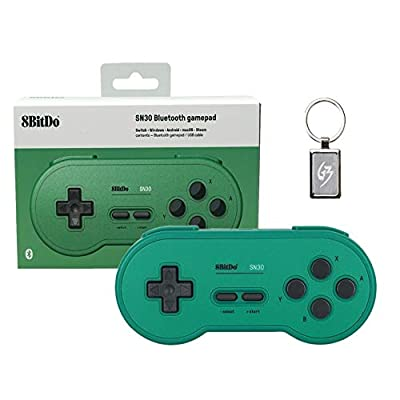 Gam3Gear 8bitdo SN30 GP Green Edition Controller Wireless Bluetooth Gamepad for Nintendo Switch, Windows, Android, macOS, Steam with free Keychain