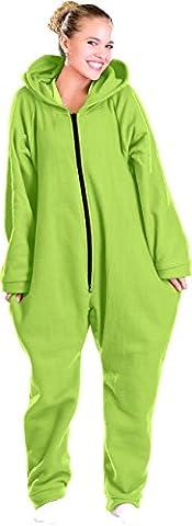 PEARL basic Pyjama: Jumpsuit aus flauschigem Fleece, grün, Größe L (Jumpsuit als Nachtwäsche) (Pyjama Overall)