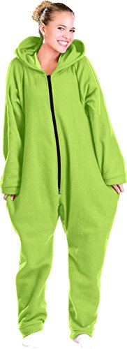 PEARL basic Ganzkörperanzug: Jumpsuit aus flauschigem Fleece, grün, Größe M (Hausanzug Einteiler Fleece)