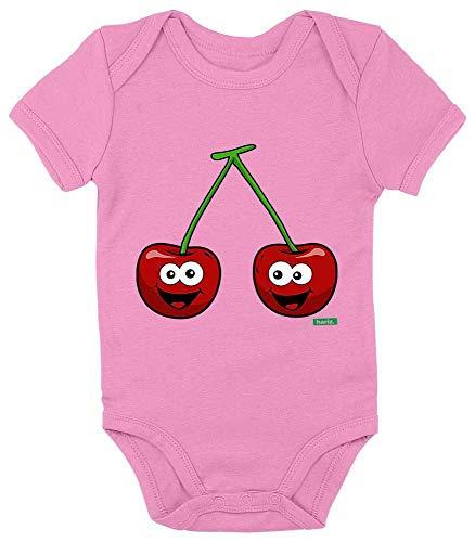 HARIZ Baby Body Kurzarm Kirschen Lachend Früchte Sommer Plus Geschenkkarten Bubblegum Pink 0-3 Monate