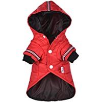 U.Expectating Warmes Haustier Winter Wasserdichte Jacke Welpen Welpen Hoodie Daunenjacke Kleidung (M, Rot)