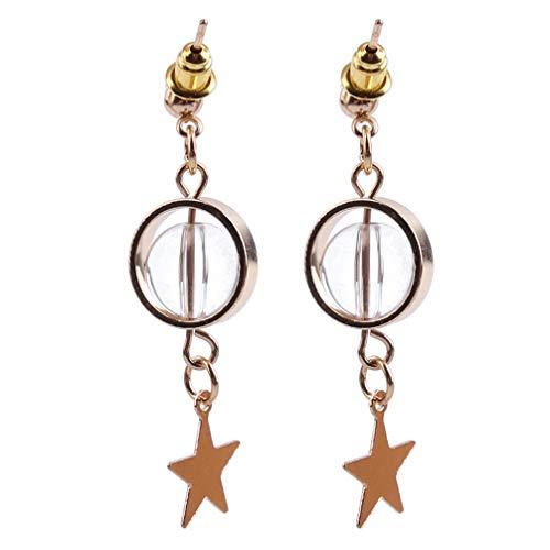 Toporchid Kurze Ohrschmuck Transparente Glasperlen Pentagramm Sterne Pendler Weibliche Kleine Ohrringe (Gold Farbe)