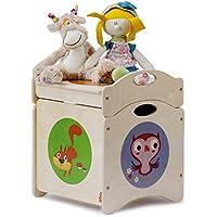 """DIDA -Pouf Coffre à Jouets Enfant en Bois - """"Troncotti"""" Cube de Base avec 4 Roues + Couvercle - décorations: écureuils, mouffettes et Hibou"""