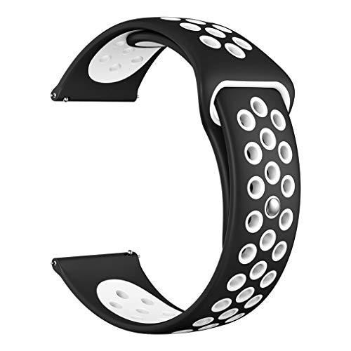 Knowin Uhrenarmband Silikon Ersatz Uhrenarmband Armband für Fitbit Versa lite Zweifarbiges Silikonarmband in Grün, Orange, Weiß, Rot, Schwarz (klein)