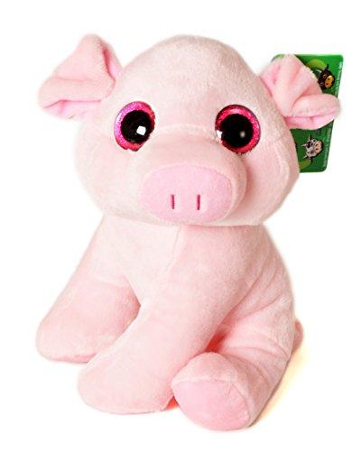 """Animali da allevamento - Peluche porcellino rosa con gli occhi luminosi (10""""/26cm) -Qualità soft"""