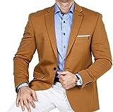 Armina Exclusive Herren Sakko Leichter Stoff Blazer Einknopf Jackett Regular Fit Anzug klassisch, Größe 58, Caramel