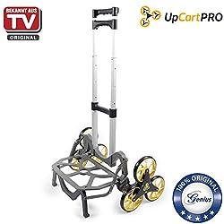 Genius A26025 Upcart Pro Aluminium-Treppensteiger Sackkarre Einkaufstrolley, 3-Rad-Mechanismus, klappbar Tragkraft 45,5 kg, Schneller und leichter Transport