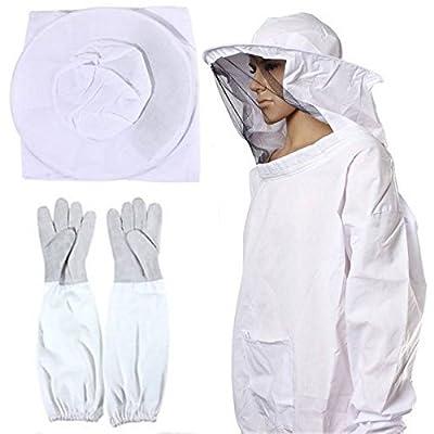 OZAVO Professionelle Bienenzucht Jacke Schleier Bienenschutzanzug Kleid Kittel Ausrüstung Schutzbekleidung+1 Pair Bienenzucht Langarm-Handschuhe von OZAVO bei Du und dein Garten