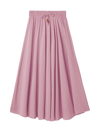 DEBAIJIA Damen Maxirock Elegant Vintage Seidig Gefühl Abendrock Lässig Strand Sommer Röcke Baumwolle Einfach Shick Baumwolle+Seide - Rosa