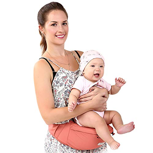 SONARIN Front Premium Hipseat Baby Carrier, Multifunctional, Ergonomic, 100% Cotton, Butterfly Rotary Buckle, 6 Carrying Positions, Adapted to Your Child's Growing,Ideal Gift(Pink)  SONARIN