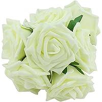 OUNONA Rosa Flores Artificial Ramo de Novia para Boda Decoración 20pcs (Blanco como la Leche)
