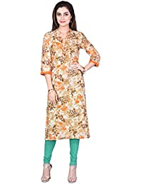 Fashion Parakeet | Orange Floral Print Kurta