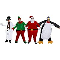 CHRISTMAS FAT SUIT NOVELTY FANCY DRESS COSTUME SANTA SUIT, ELF SUIT, XMAS PUDDING OR PENGUIN SUIT DELUXE HOOPED FUNNY CHRISTMAS COSTUME