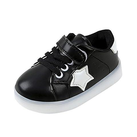 Kinder Schuhe mit Licht, FNKDOR Baby Jungen Mädchen Turnschuhe Leuchtend Blinkschuhe Sportschuhe, 1-6 Jahre (23 / 2-2.5 Jahre, Schwarz)