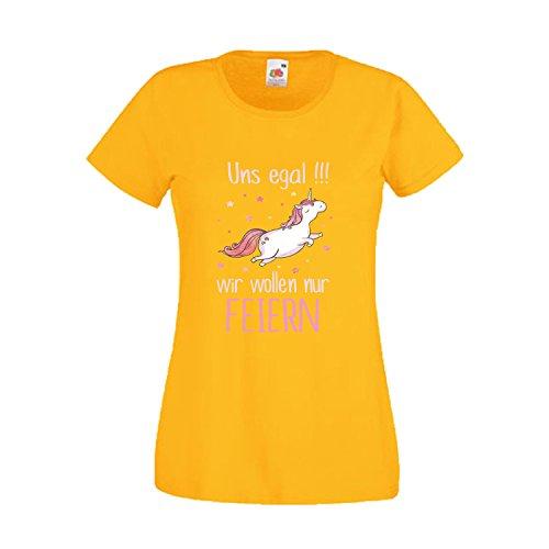 Damen T-Shirt JGA Junggesellinnenabschied Braut Team Gruppen Rundhals Shirt mit Spruch Ladyfit Mir egal Braut + Uns egal Yellow Team Braut L (Kostüme Weiblich Gruppe)